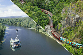 Skyrail over Barron river and Kuranda Scenic railway near Robbs Monument
